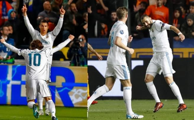 欧冠-C罗本泽马各2球 皇马6-0出线