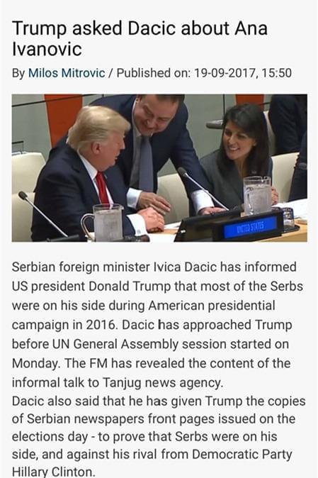 谈国事还关心美女 特朗普主动询问伊万诺维奇近况