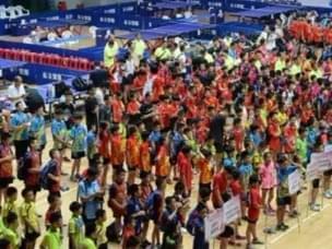 全国少儿乒乓球赛在运城市挥拍 58支代表队参加比赛