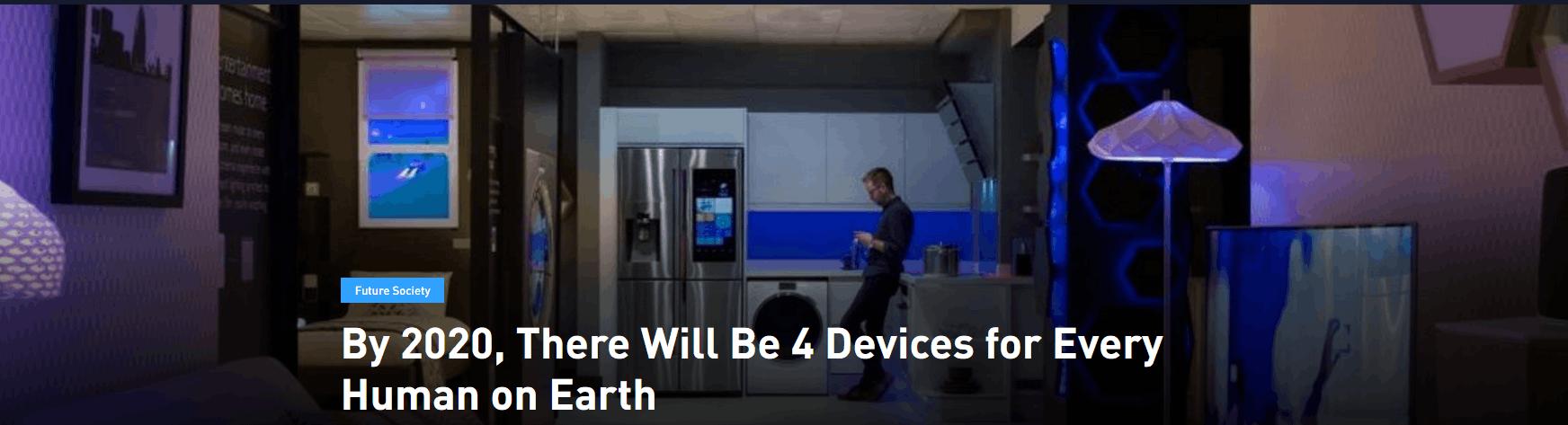 到2020年 地球上每个人至少有4部联网设备
