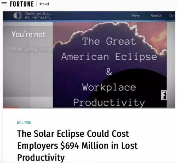 如果日食影响区域内的工人每人平均在日食发生期间离岗20分钟雇主就会遭受6.94亿美元的损失