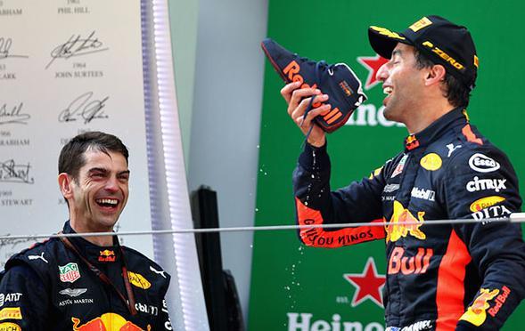 F1中国大奖赛里卡多夺冠用鞋饮香槟