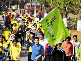 靖江举办全市健步行活动 千名健身爱好者参与