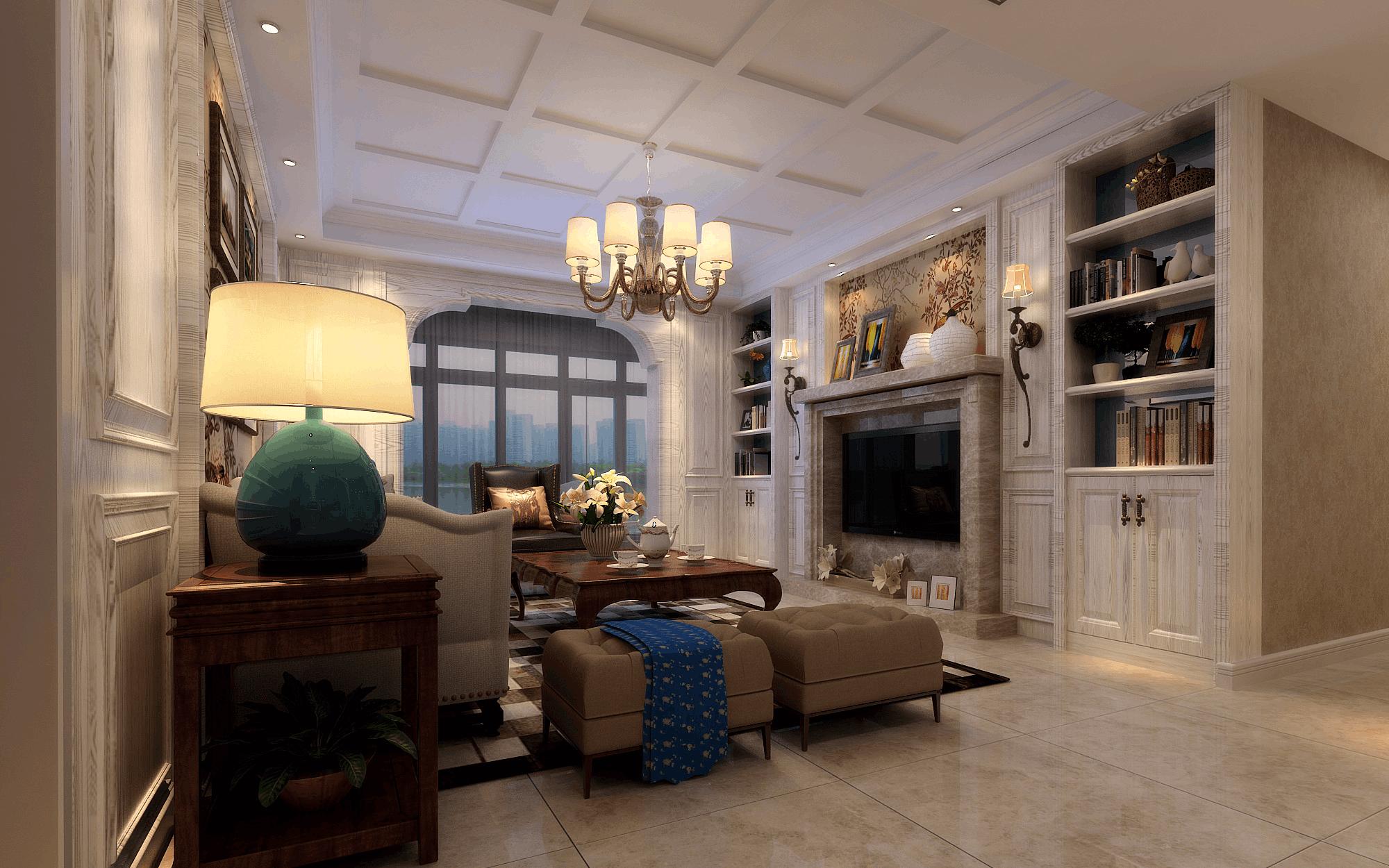 英地金台府邸135㎡三居室美式风格效果图