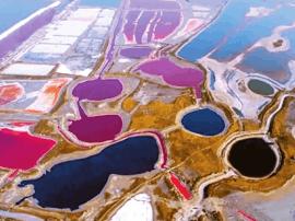 运城盐湖高温气象作用下色彩斑斓