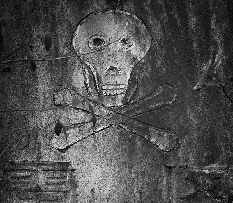 带骷髅头的禁区标志,限制了村民的生存地界。
