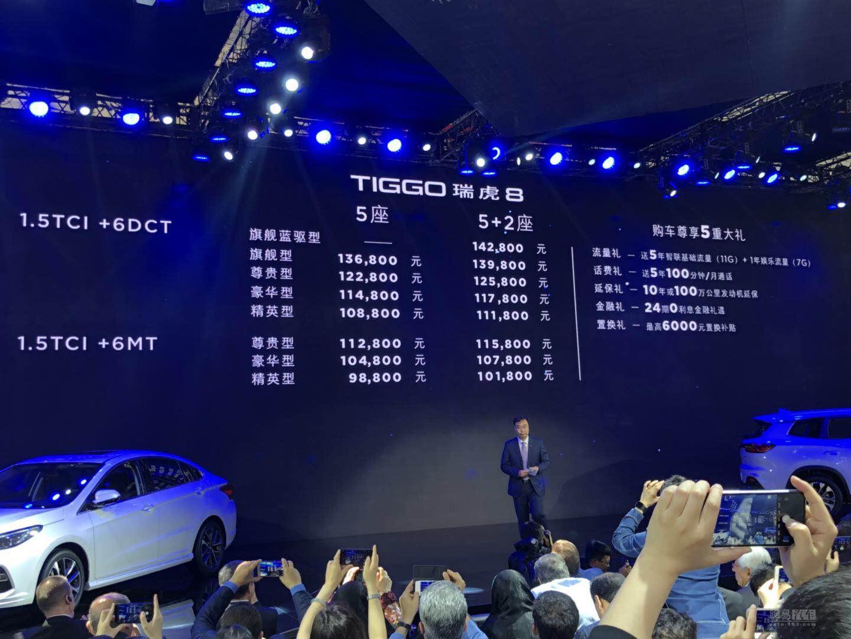 共15款车型 奇瑞瑞虎8售9.88-14.28万元