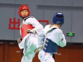 石家庄市跆拳道运动员陈博琳遗憾摘银