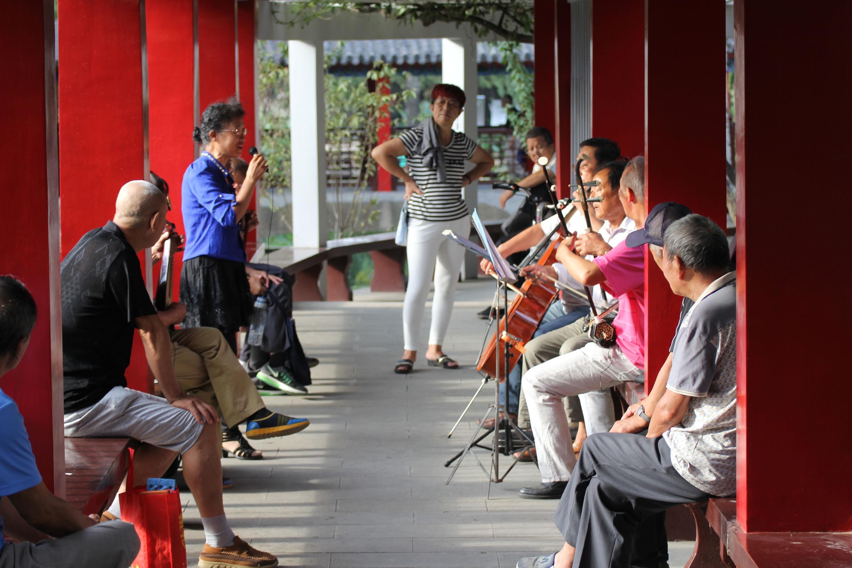 2016年09月25日,山东省青岛市,老人在青岛沧口公园休闲。/视觉中国