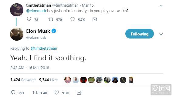 硅谷钢铁侠也是暴雪粉!特斯拉CEO爱玩守望先锋