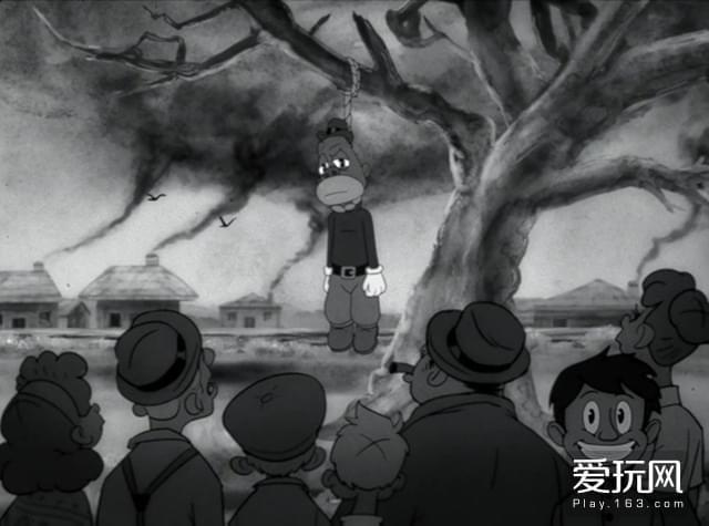 3.《The Story of OJ》MV的截图,黑人在树上被吊死