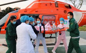 5个月重症患儿就诊难  政企联手空中120接力救援
