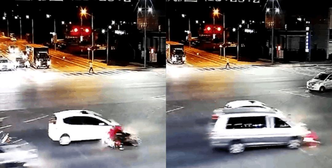 """男子骑车路口""""鬼探头""""闯红灯 被两车连撞"""
