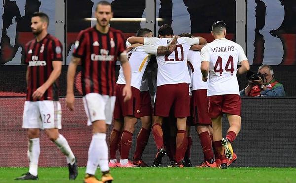 哲科弗洛伦齐破门 10人米兰0-2罗马遭2连败