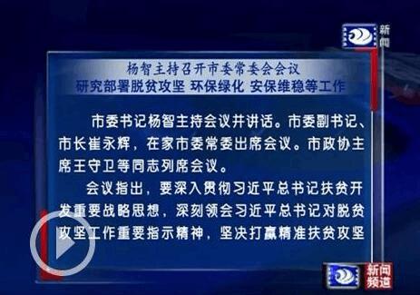 杨智主持召开市委常委会会议 研究脱贫攻坚等工作