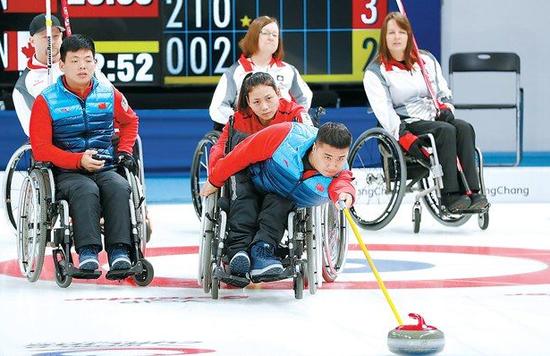冬残奥会轮椅冰壶中国一日双赛 6-4擒美国获第6胜