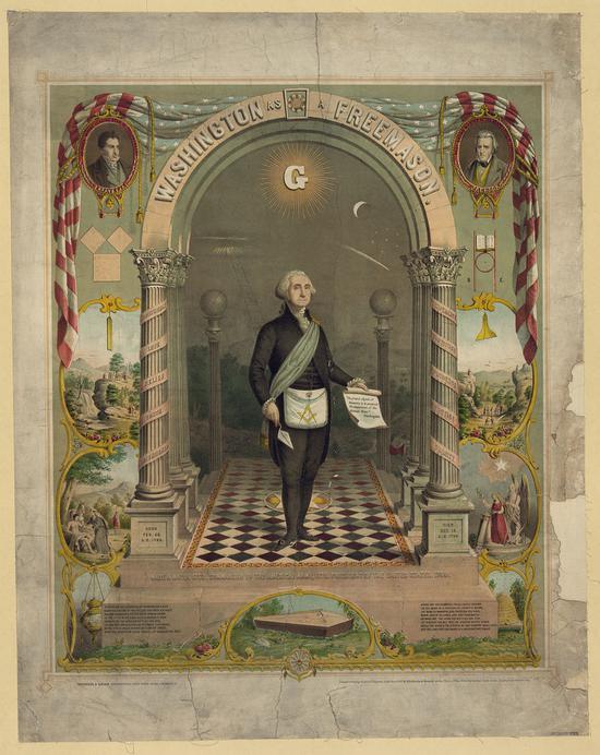 ?华盛顿带着印有共济会标志的围裙/Wikimedia