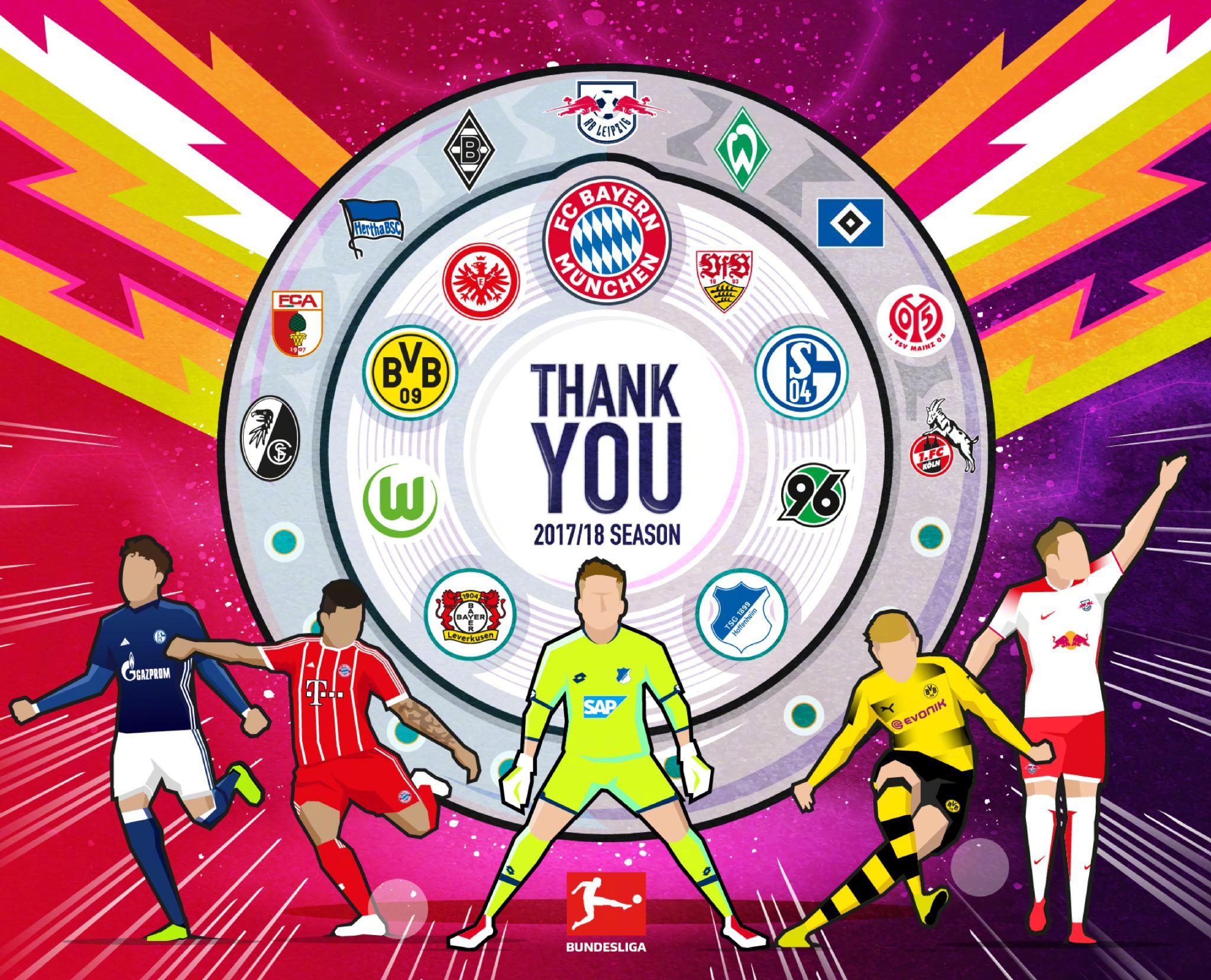 拜仁夺德甲,沙尔克多特霍村进欧冠,科隆汉堡降级