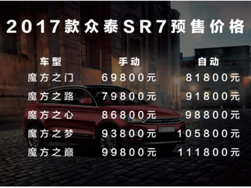 新增两款车型 新SR7预售价低至6.98万起