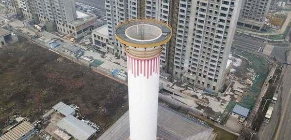 航拍西安网红除霾塔 外形酷似散热塔