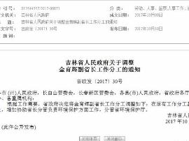 省政府关于调整金育辉副省长工作分工的通知