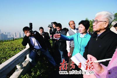 吴南生(右一)在莲花山上眺望深圳全景。南方日报记者梁宇摄