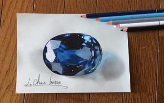 日本画师展现超强功力 铅笔画出华丽宝石