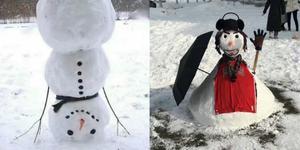 笑死了!雪后大学生花式创意堆雪人