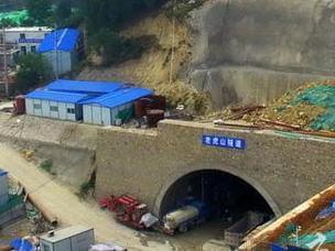 航拍济南二环东路南延老虎山隧道