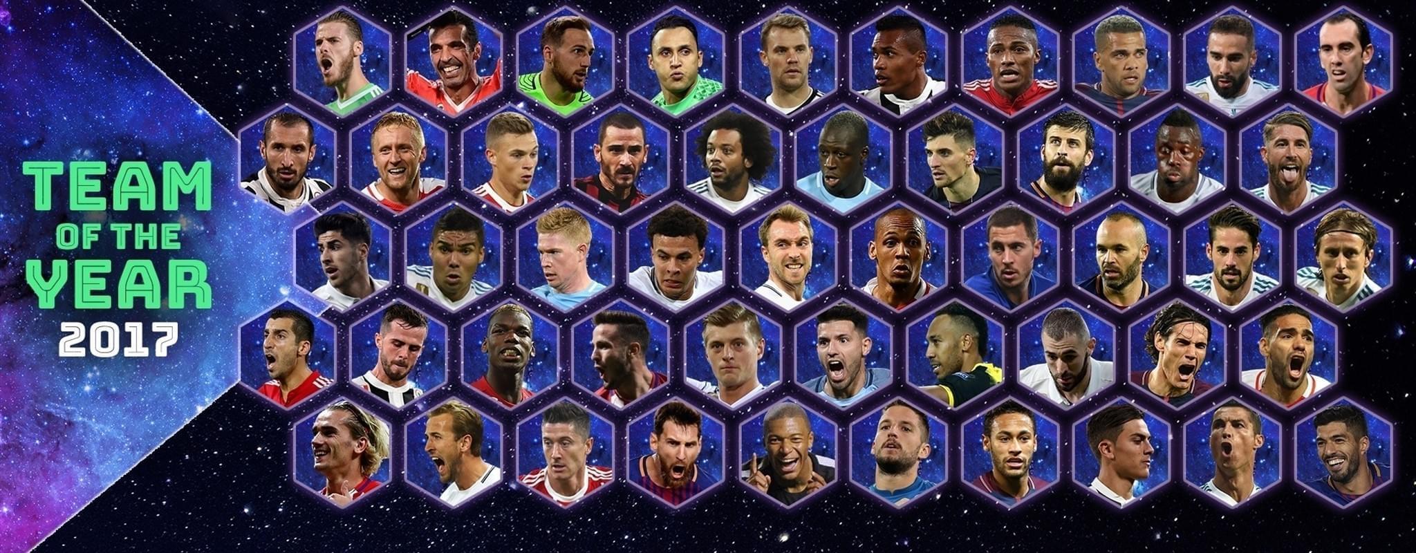 欧足联最佳阵容50人大名单:梅罗领衔 皇马11人入围