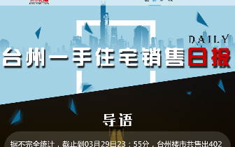 2018年3月29日台州市一手住宅成交402套