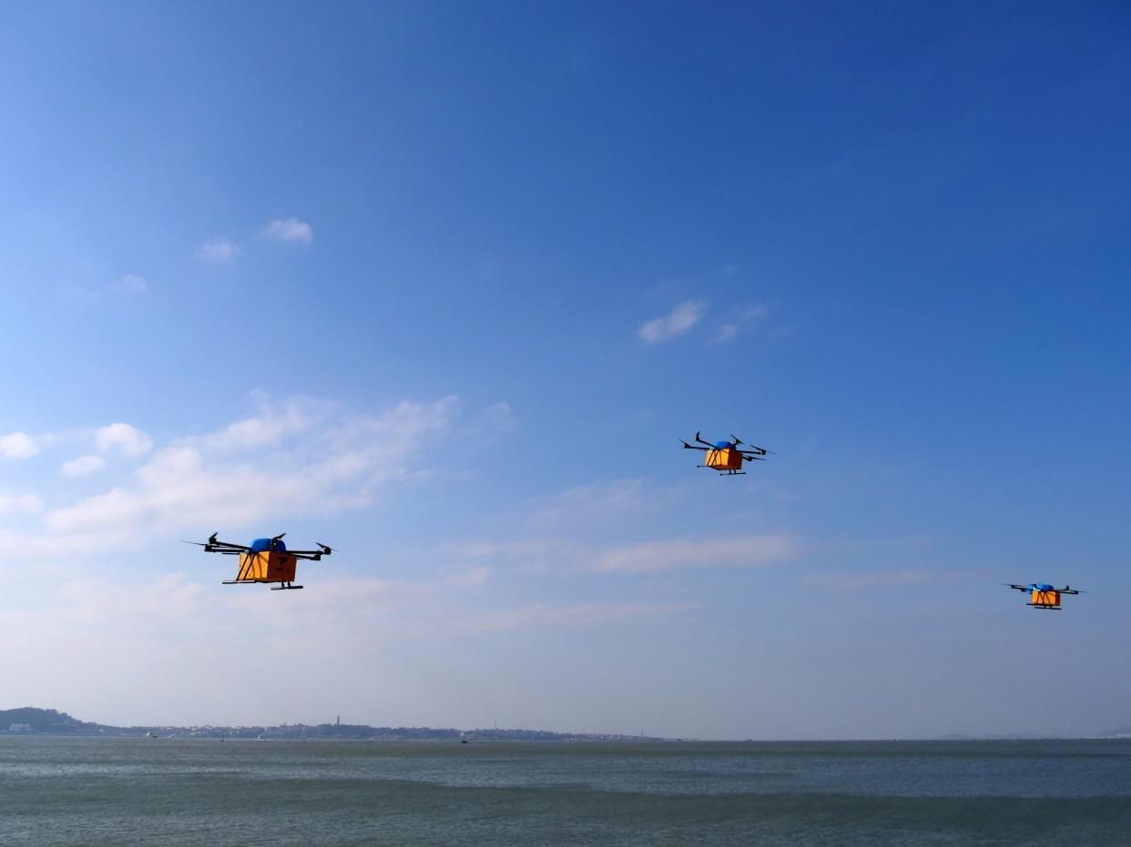 菜鸟完成全国首次无人机群跨海快递: 9分钟飞5公里