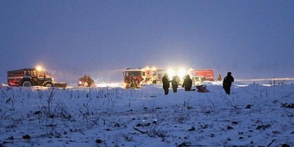 俄萨拉托夫航空安-148飞机坠毁现场图