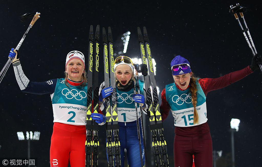 越野滑雪女子短距离 瑞典选手夺冠挪威亚军