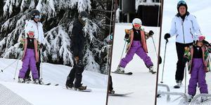 小七穿潮流紫滑雪服去滑雪 网友:胸以下都是腿