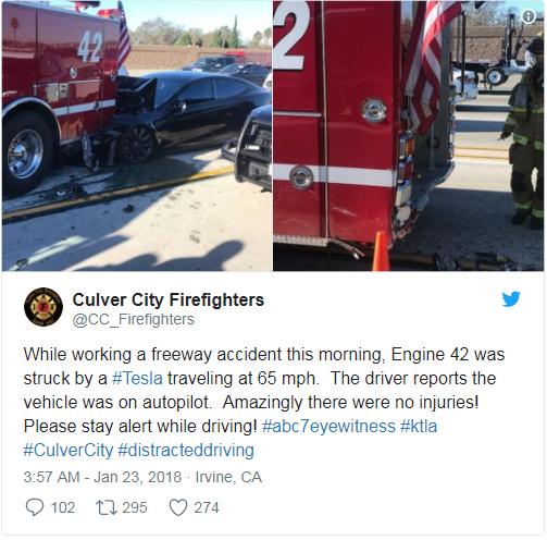 特斯拉再撞消防车,不用激光雷达的马斯克错了吗?