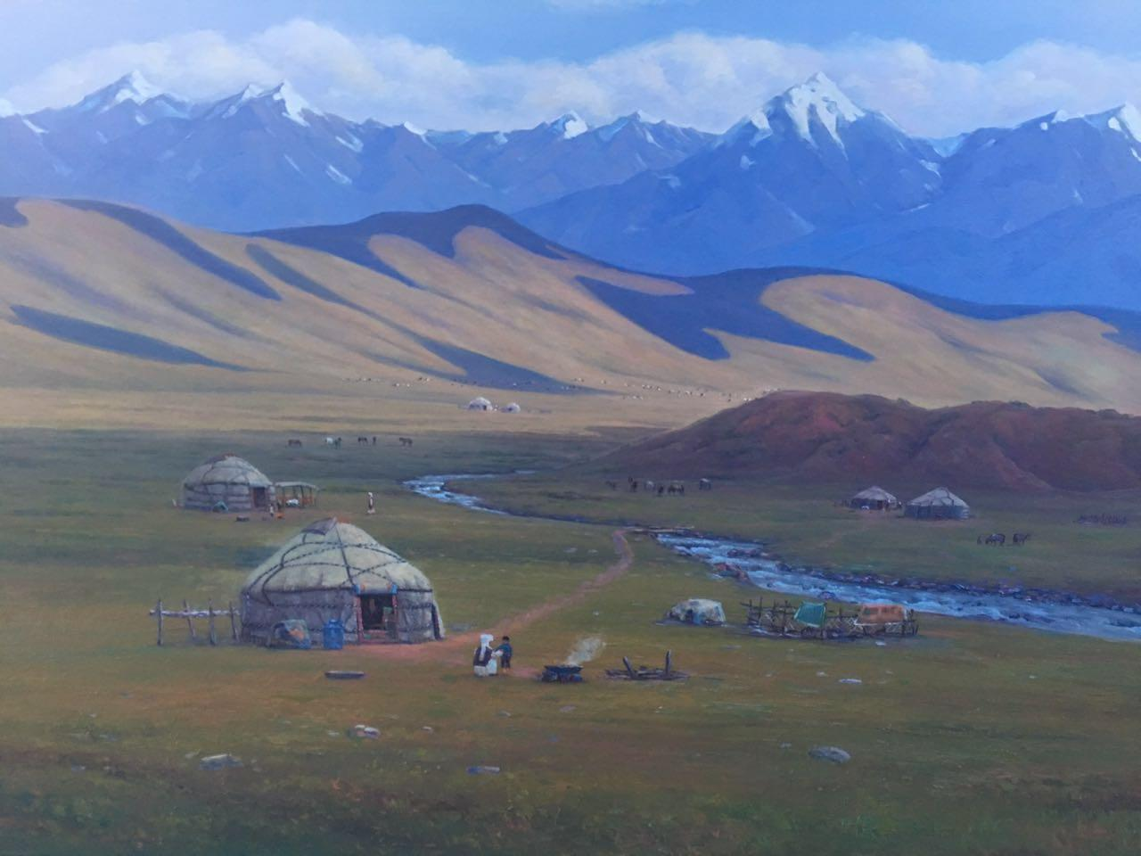 露天艺术市场的草原风景画