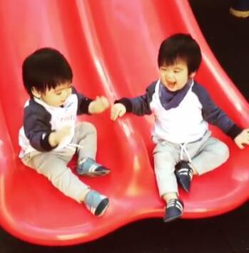 林志颖双胞胎儿子会玩滑梯了 挥舞着小手表达开心的情绪