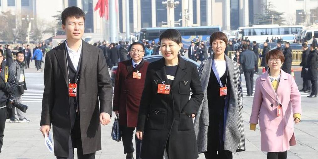 张凯丽参加政协预备会 笑容满面步入大会堂