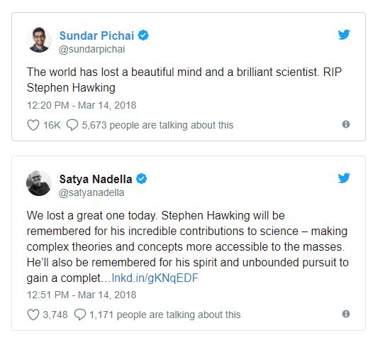 谷歌和微软CEO悼念霍金:世界失去了一颗美丽心灵
