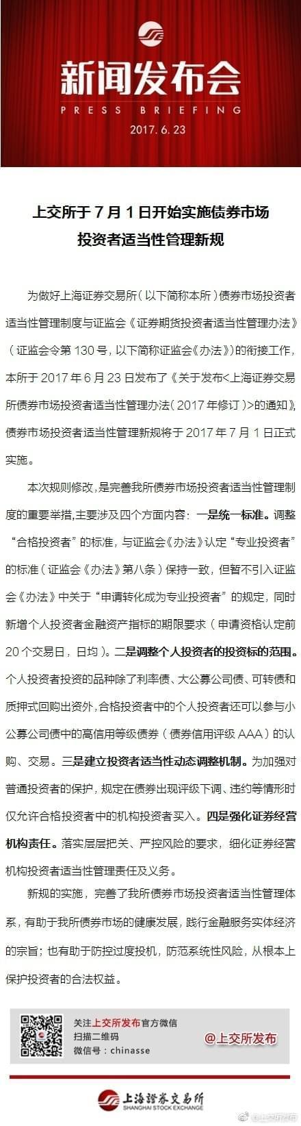 上交所于7月1日起实施债券投资者适当性管理新规
