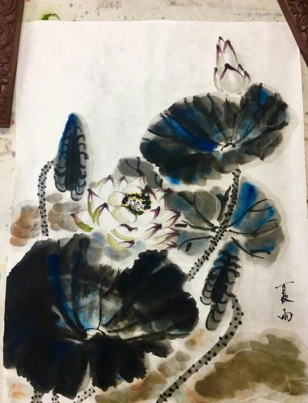 被演艺事业耽误的画家 夏雨作画朵朵荷花跃然纸上