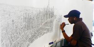 英自闭症画家凭45分钟记忆画纽约