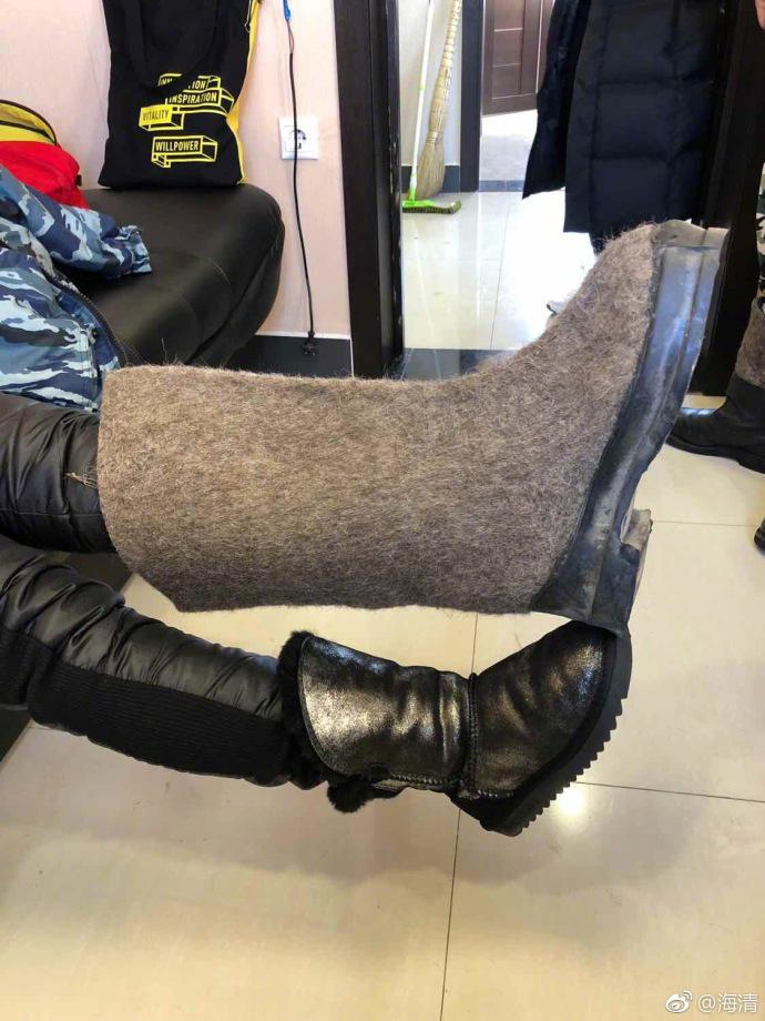 海清新电影俄罗斯开拍 晒巨型雪地靴引网友热议