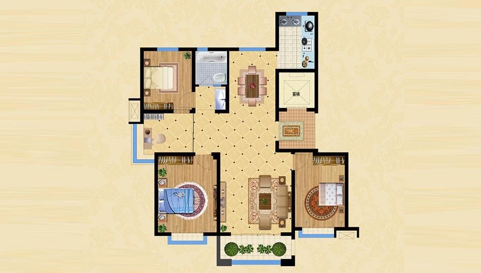 A1户型四室两厅一卫约132㎡