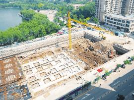 龙潭公园南门地下停车场工程地基处理全部完成