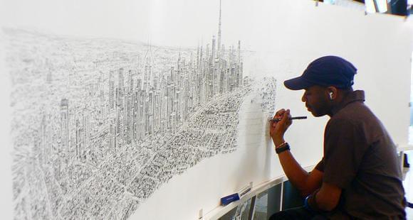 英自闭症天才画家凭45分钟记忆画出纽约