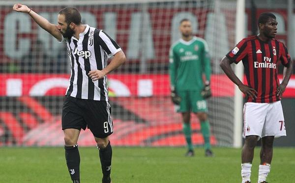 伊瓜因2球联赛进球破百 尤文客场2-0米兰