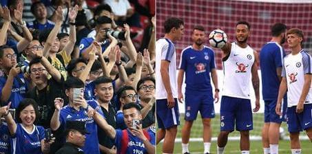 切尔西鸟巢踩场训练 中国蓝军球迷热情助阵