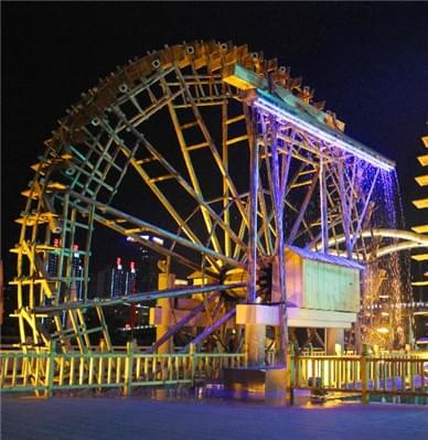 夜幕下的兰州水车博览园